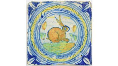 16th century circle cord Delft tile with a hare