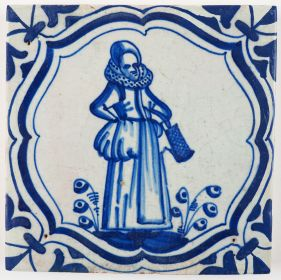 Antique Delft tile with a lady, 17th century