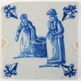 Antique Delft tile with two woman carrying goods to the market, 17th century