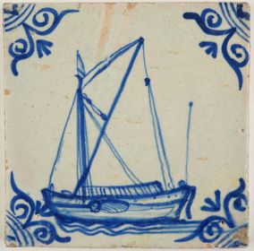 Antique Delft tile with a cargo boat, 17th century