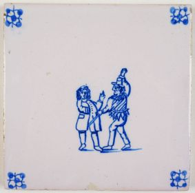 Antique Delft tile with a jester, 19th century