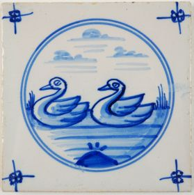 Antique Delft tile with two swans, 19th century