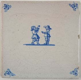 Antique Delft tile with two children playing with a ball, 18th century
