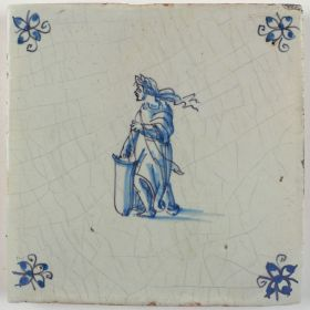 Antique Delft tile with a shield holder, 17th century