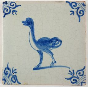 Antique Delft tile with an ostrich, 17th century