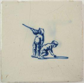Antique Delft tile with a blowgun, 17th century