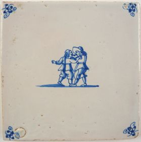 Antique Delft tile with two men fighting, 17th century