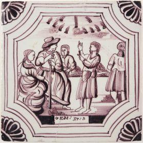 Antique Delft tile depicting Genesis 37 verse 5, 19th century