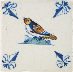 Antique Delft polychrome tile with a Swallow bird, 17th century