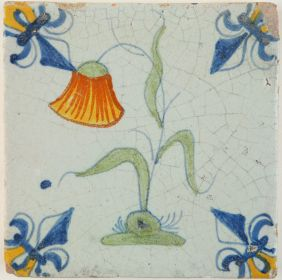 Antique Delft tile with a Snake's Head flower, 17th century