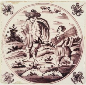 Antique Delft tile with Abraham and Isaac, 18th century