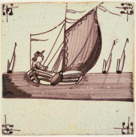 Antique Delft tile with a sailor, 19th century
