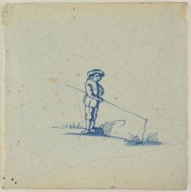 Antique Delft tile with a man fishing, 17th century