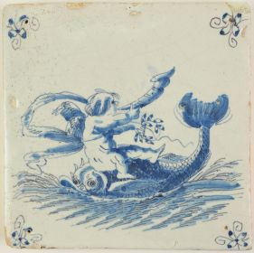Antique Delft tile with Cupid riding a dolphin, 17th century