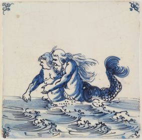 Antique Delft tile with a merman and mermaid, 17th century