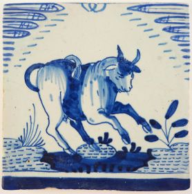 Antique Delft tile with a bull jumping to the right, 17th century
