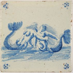 Antique Delft tile with a mermaid and merman, 17th century
