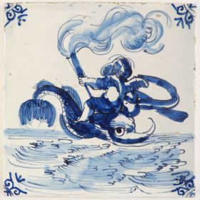 Antique Delft tile with Cupid on a dolphin, 17th century