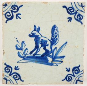 Antique Delft tile with a fox in blue, 17th century