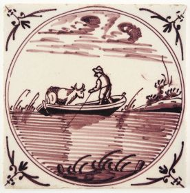 Antique Delft tile with a cow being transported in a rowing boat, 19th century