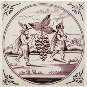 Antique Delft tile with the Grapes of Canaan, 18th/19th century