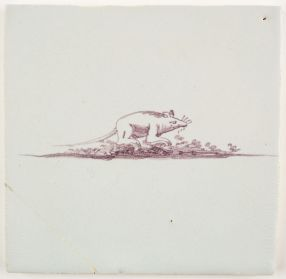 Antique Delft tile with a rat, 17th century