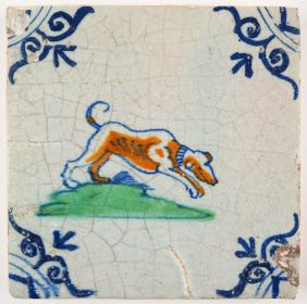 Antique Delft tile with a hunting dog, 17th century