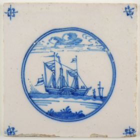 Antique Delft tile with a paddle steamer, 19th century