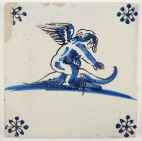 Antique Delft tile with Cupid riding on a dolphin, 17th century