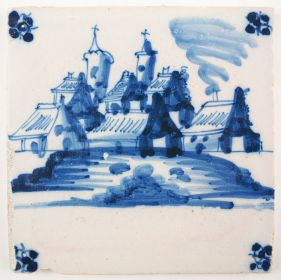Antique Delft tile with a village and a castle, 18th century