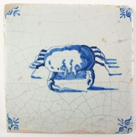 Antique Delft tile with a crab, 17th century