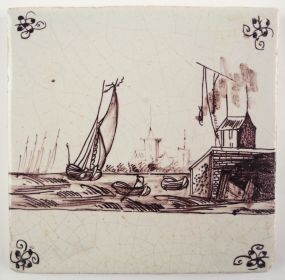 Antique Delft tile in manganese with a harbor scene, 17th century
