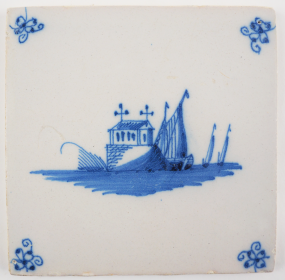 Antique Delft tile with a monastery, 18th century