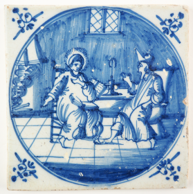 Antique Delft tile depicting Jesus meeting with Nicodemus at night, 18th century