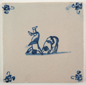Antique Delft tile with two children doing handstands, 18th century