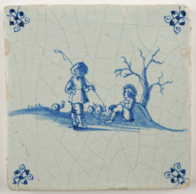 Antique Delft tile with two shepherds, 17th century