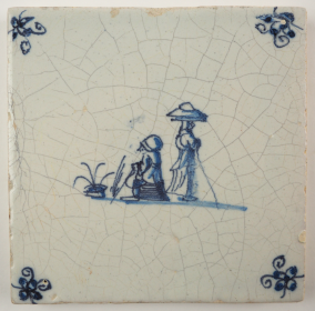 Antique Delft tile with two Chinese figures, 17th century