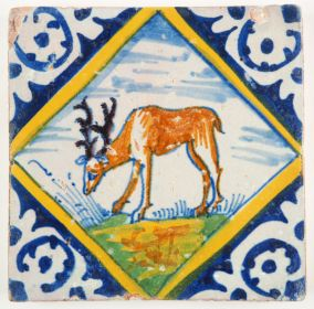 Antique Delft polychrome tile with a Red Deer in a diamond square, 17th century