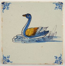 Antique Delft tile with a polychrome swan in the water, 17th century