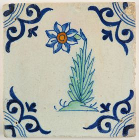 Antique polychrome Delft tile with a Narcissus flower, 17th century