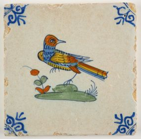 Antique polychrome Delft tile in a mix of beautiful colors, 17th century