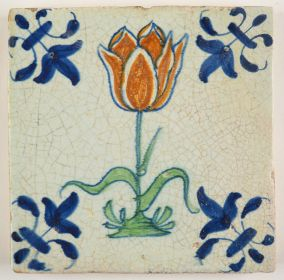 Early 17th century Delft tile with a large orange tulip, 17th century