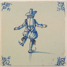 Antique Delft tile in blue with an ice skater, 17th century
