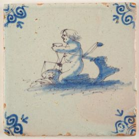 Antique Delft tile with putti riding on the back of a dolphin, 17th century