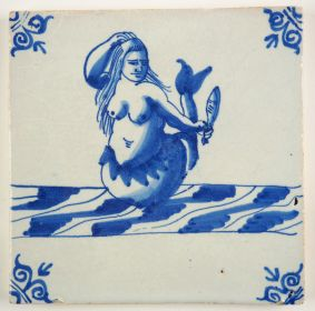 Antique Delft tile with a mermaid admiring her own beauty in a mirrow, 17th century