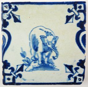 Antique Delft tile with an elephant, 17th century