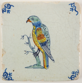 Antique Delft tile with a parrot, 17th century