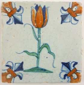 Antique Delft tile with a large tulip, 17th century