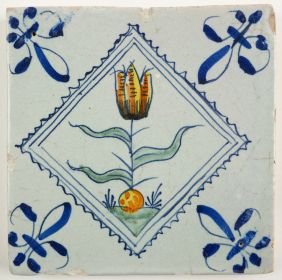 Antique Delft tile with a colorful tulip, 17th century