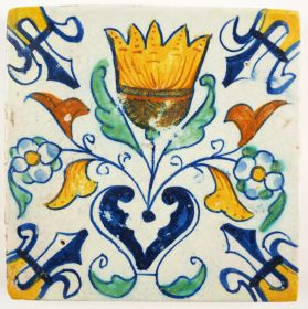 Antique Delft tile with a Tulip, 17th century